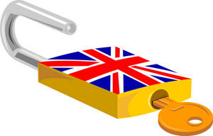 Padlock And Key British Flag Design