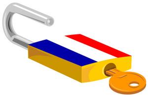 Padlock And Key France Flag Design