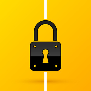 Padlock Icon On Bright Yellow Background. Eps10