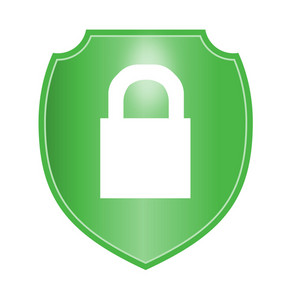 Padlock In Green Shield