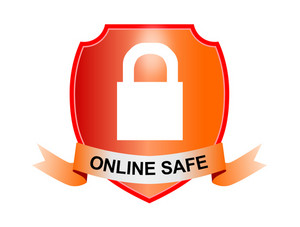Padlock Online Safe Shield And Ribbon