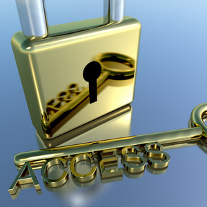 Padlock With Access Key Showing Permission Security And Login