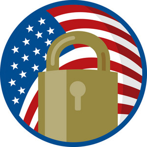 Padlock With American Flag Inside Circle