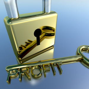 Padlock With Profit Key Showing Growth Earnings And Revenue