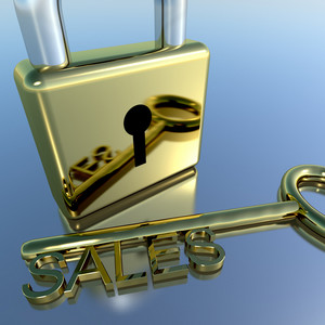 Padlock With Sales Key Showing Selling Marketing And Commerce
