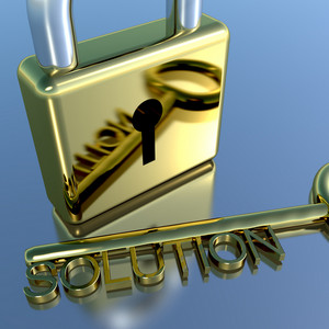 Padlock With Solution Key Showing Strategy Planning And Success