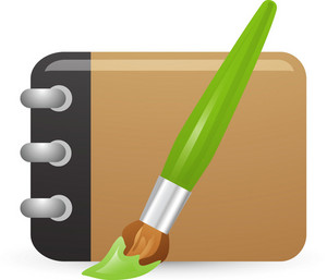 Paint Brush And Empty Notebook Lite Art Icon