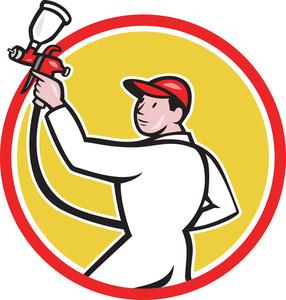 Painter Spray Paint Gun Side Circle Cartoon