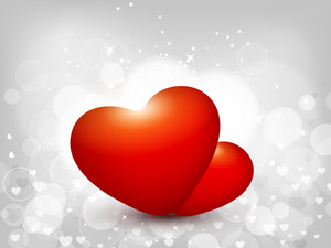 Pair Of Glowing Heart On Abstract Background.