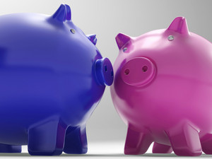 Pair Of Pigs Shows Exchange And Wealth
