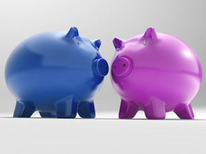 Pair Of Pigs Shows Savings Banking And Money