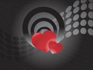 Pair Of Red Heart On Wavy Halftone Background