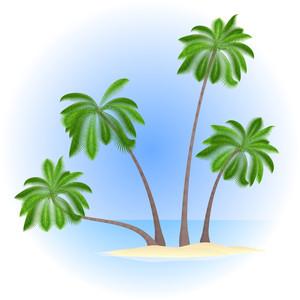 Palm Island. Vector.