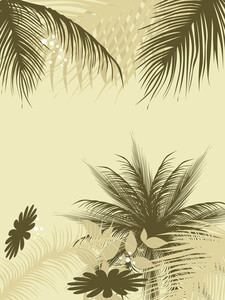 Palm Leaves Background With Daiy Illustration