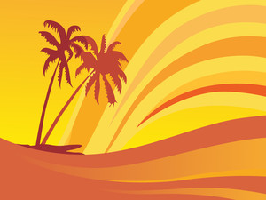 Palm Tree In Summer Waves Background