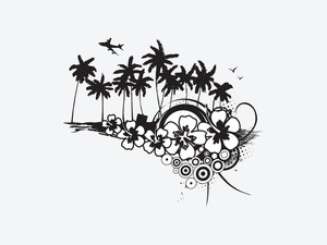 Palm Trees With Floral On White Background