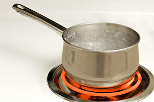 Pan of Boiling Water On Hot Burner