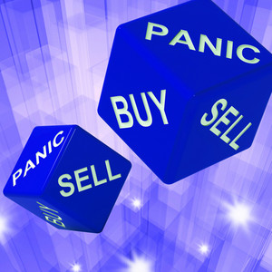 Panic, Buy, Sell Dice Background Showing International Transactions