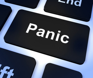 Panic Computer Key Showing Anxiety Stress And Hysteria