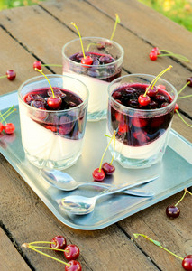 Panna Cotta And Cherries