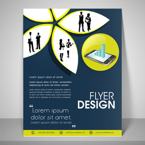 Paper art flyer design for business with images of boy and girl address bar