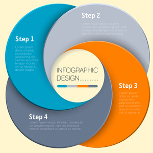 Carta vettoriale cerchio Infografica Step By Step Template Design piatto