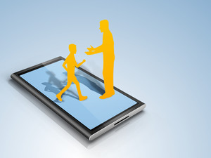 Paper Design Of A Father And His Son On Tablet Screen