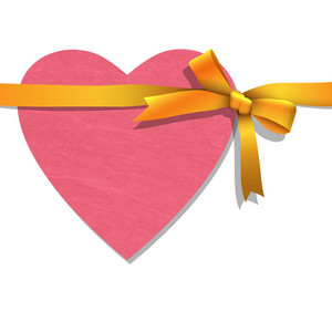 Paper Heart With Tied Golden Ribbon