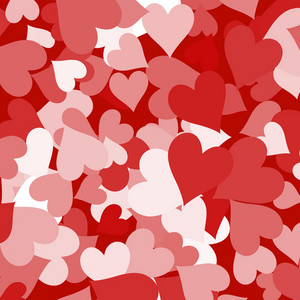 Paper Hearts And Red Background Showing Love Romance And Valentines