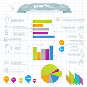 Paper Infographics Design Elements.