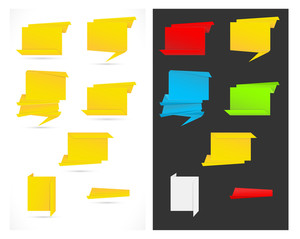 Paper Origami Speech Bubble And Banner Vectors