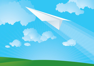 Paper Plane In The Sky. Vector.
