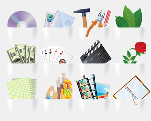 Paper Pockets Multimedia And Web Icon Set. Vector.