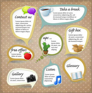 Paper Speech Bubbles. Vector Retro Stickers Set