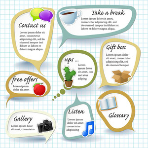 Paper Speech Bubbles. Vector Stickers Set