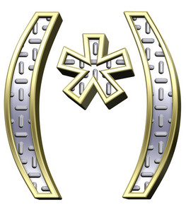 Parenthesis, Asterisk From Steel Tread Plate Alphabet Set