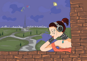 Paris Doodles With Lady Vector Illustration