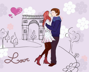 Paris Doodles With Lovers Vector Illustration