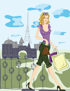 Paris Doodles With Shopping Lady Vector Illustration