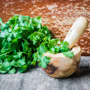 Parsley On Wooden Background