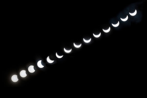 Partial Sun eclipse. March 20 2015 Poland. All sun eclipse phases stacked on one photo. Sun on dark background.