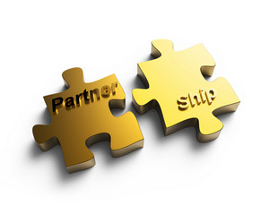 """partnership"" Written Puzzle Gold Pieces"