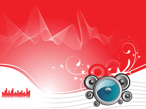Party Design With Speaker And Floral Grunge Background