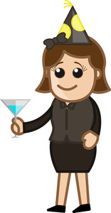 Party Girl - Cartoon Business Character