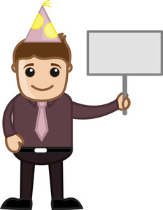 Party Man With Blank Banner - Cartoon Business Character