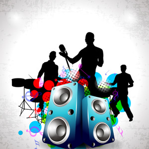 Party Night Background With Dancing People Silhouette And Speakers.