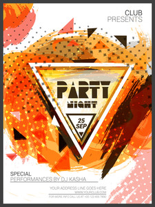 Party Night Template Banner or Flyer presentation decorated with colorful abstract design.