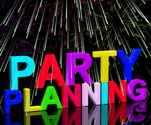 Party Planning Words Showing Birthday Or Anniversary Celebration Organization