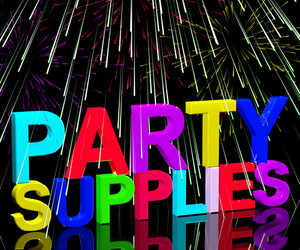 Party Supplies Words Showing Birthday Or Anniversary Celebration Products And Goods