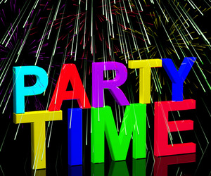 Party Time Word With Fireworks Showing Clubbing Nightlife Or Disco